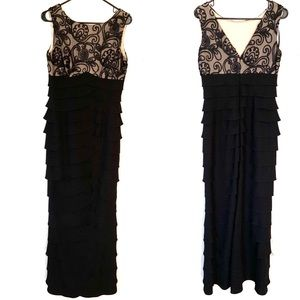 Jessica Howard Tiered Black Lace Evening Gown 6